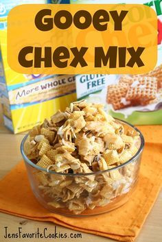 Gooey Chex mix - this sounds rich and gooey and delicious, it has almonds and coconut along with the chex and golden grahams (plus sugar, butter and corn syrup) I bet it'd be good with chocolate chips, maybe peanuts or cashews and even if you skipped the coconut.