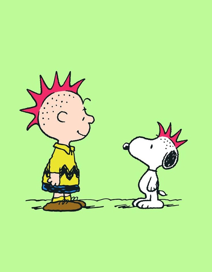 Charlie Brown and Snoopy, trying out Mohawks, too cute.