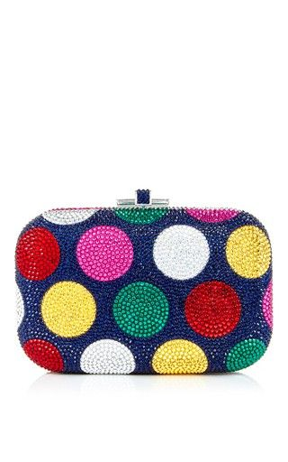 Slide lock polka dot clutch by JUDITH LEIBER Preorder Now on Moda Operandi