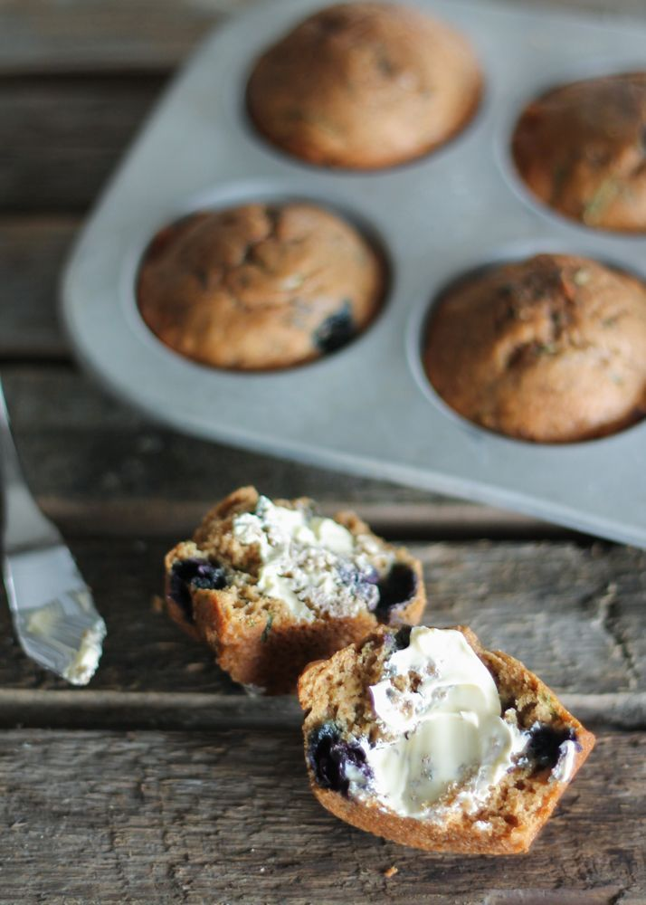 Healthy morning blueberry zucchini muffins - these are a great on the go breakfast or snack!