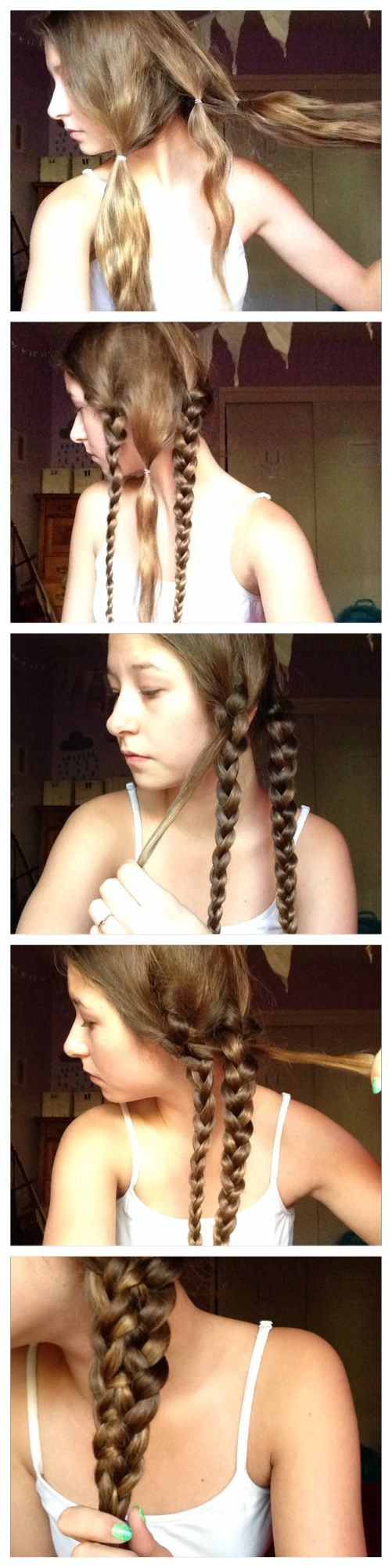 Lace-up braid tutorial- 1 separate your hair into 2 main parts 2- take a small part from the first part 3- braid the two main parts leaving a little part in the middle 4- sew the middle part through the two main braids!