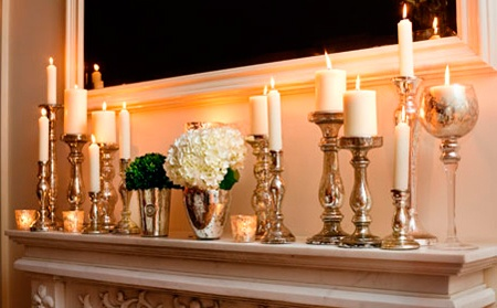 Candles on the mantle---loveeee but i bet id start a firee