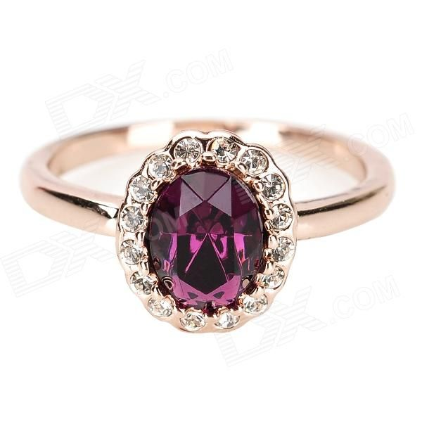 KCCHSTAR 18K Crystal Ring with Artificial Diamond - Golden + Purple - Free Shipping - DealExtreme