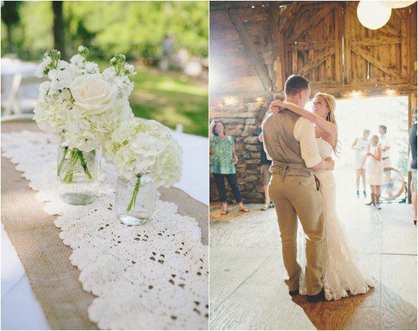 Lace Burlap Wedding - maybe instead of the wood if the wood ban gets in the way.