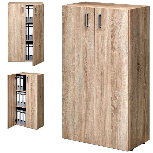 Office Storage Cupboard 3 Shelf Cabinet Tall Home Organize Furniture Oak Unit   #DBAFurniture