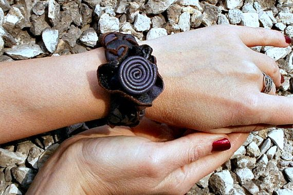Bracelet leather ethnic style bracelet Chain women by KnittedJoy1