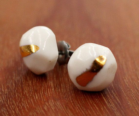 FTC-P-0102 GOLDIE HORN Porcelain Earrings by FlowntheCoup on Etsy