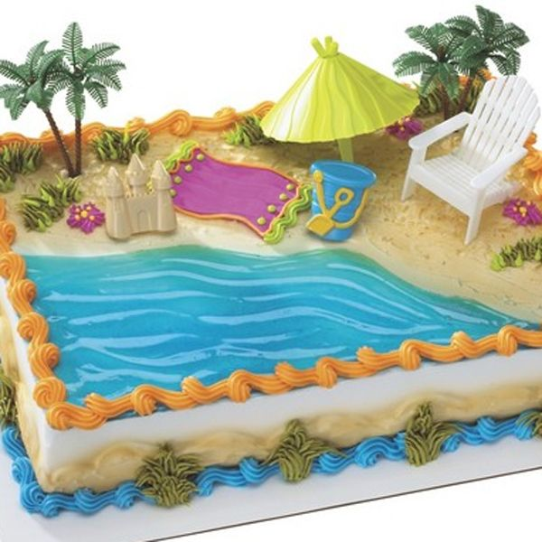Hawaiian Beach Chair And Umbrella Cake Decorating Kit Party Supplies Decoration Topper Luau