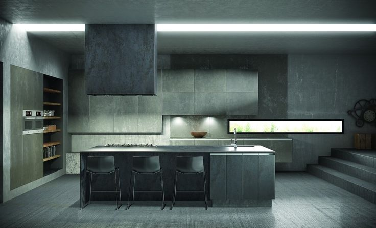 Island and worktop in ceramic iron grey finish. Left hand units in ash finish and wall units in basalt grey finish.