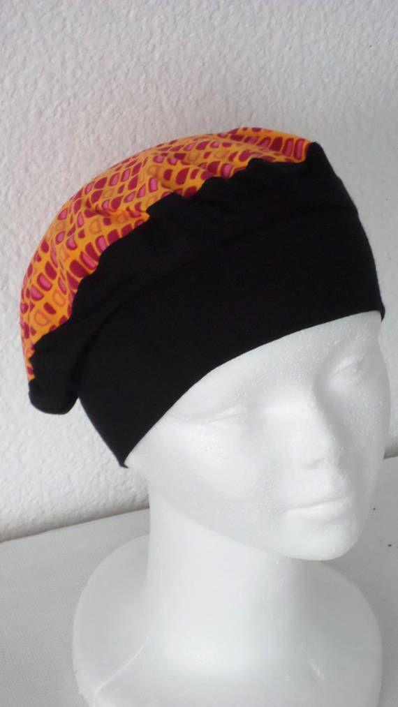 cff03fb2058 Bonnet chapeau béret turban bandanas chimio cancer alopécie  femme   confortable  unique  noir et imprimé orange collection printemps été