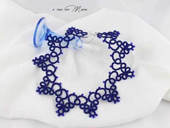 Collana blu pizzo chiacchierino collana colletto blu