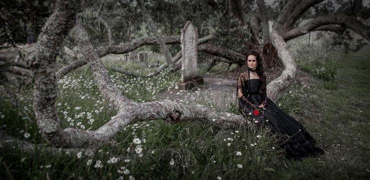 Fantasy, Gothic, Victorian, Black, Silk Dupion, Ball Gown,  Photographer: Vanessa Wood from Suede Studios http://www.suedestudios.co.nz/.  Model, Hair & Makeup: Alyssia Atonio.  Styling: Vanessa Wood & Vanessa Burton Designer: V J Burton Gowns