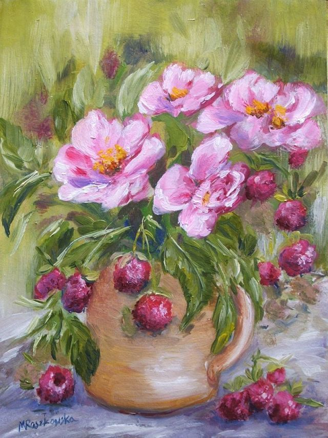 Malinowy bukiet - Maria Roszkowska -  obraz olejny
