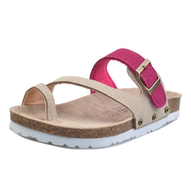 Ucuz Moda Kadın Sandalet Tokaları Yaz Terlik Mantar Düz Rahat Tanga Platformu Plaj Sandalet Kadın Rahat Ayakkabılar üzerinde Kayma, Satın Kalite kadın sandalet doğrudan Çin Tedarikçilerden:
