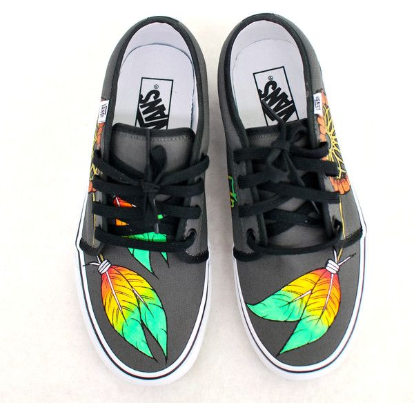 Hand Painted Rasta Dream Catchers on Vulcanized 106 Vans shoes Pewter/Black featuring polyvore fashion shoes pewter shoes black shoes kohl shoes vans shoes vans footwear