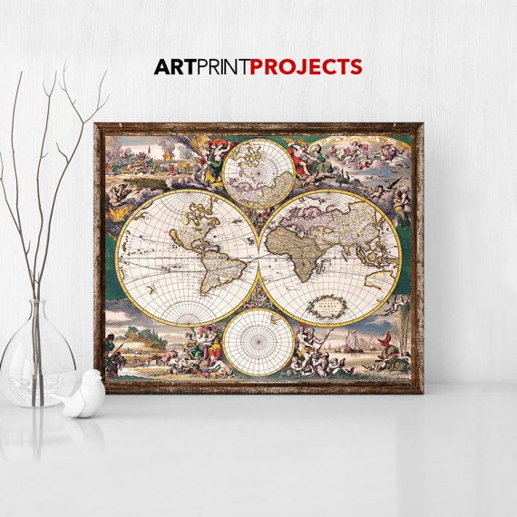 Large world map Vintage Style map Map poster World map vintage