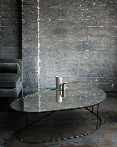 Table basse / contemporaine / en acier / en verre MOON PEBBLE OCHRE