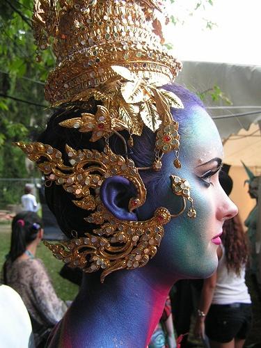 goddess headdress blue facepaint bodypaint: Blue Facepaint, Fashion, Facepaint Bodypaint, Goddess Headdress, Carny Queen And Costume Ideas, Painting Ideas, Beauty