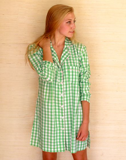 df61318217 Kayce Hughes - night shirt in large green gingham - perfect with a monogram  too!