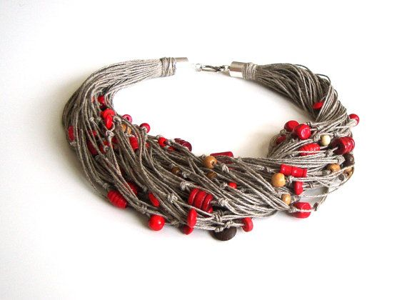 Linen necklace with red beads