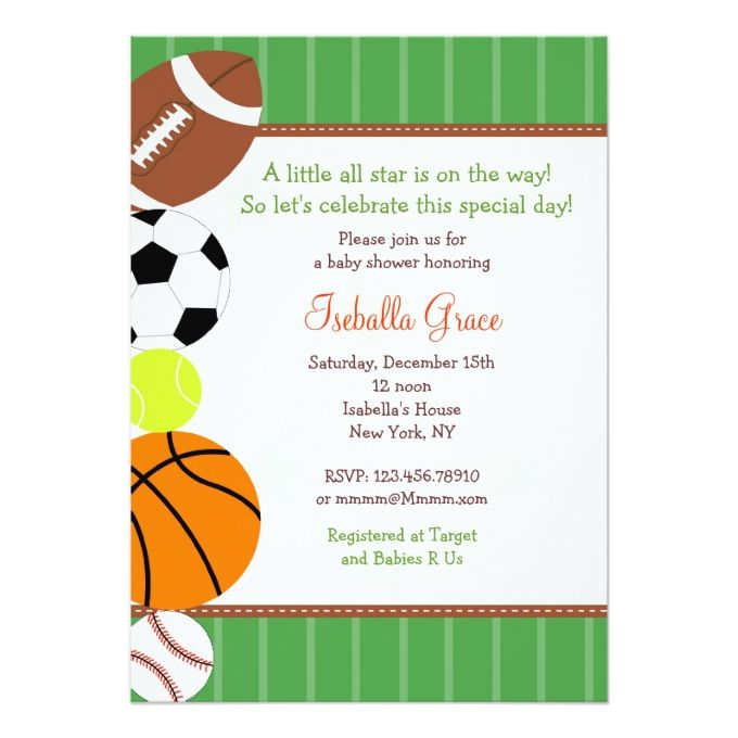 820 best sports invitations images on pinterest invitation cards all star sport baby shower invitation stopboris Gallery