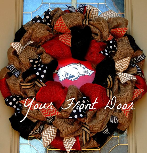 Razorback Burlap Wreath  Arkansas Razorbacks by YourFrontDoorAR, $90.00