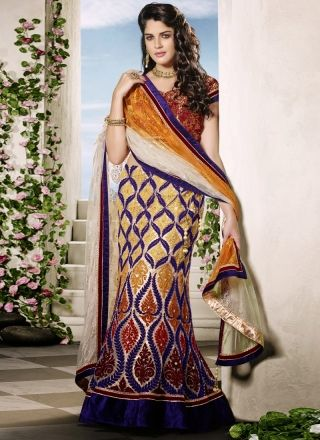 Multicolored Embroidery Work Designer Fish Cut Lehenga Choli http://www.angelnx.com/Lehenga-Choli