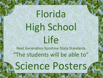 Florida High School HS Life Science Standards Posters NGSSS
