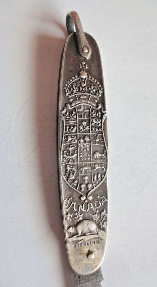 Vintage Sterling Silver Folding Knife Early Canada Crest Rare Antique Knife  #HBokerCosImprovedCutlery