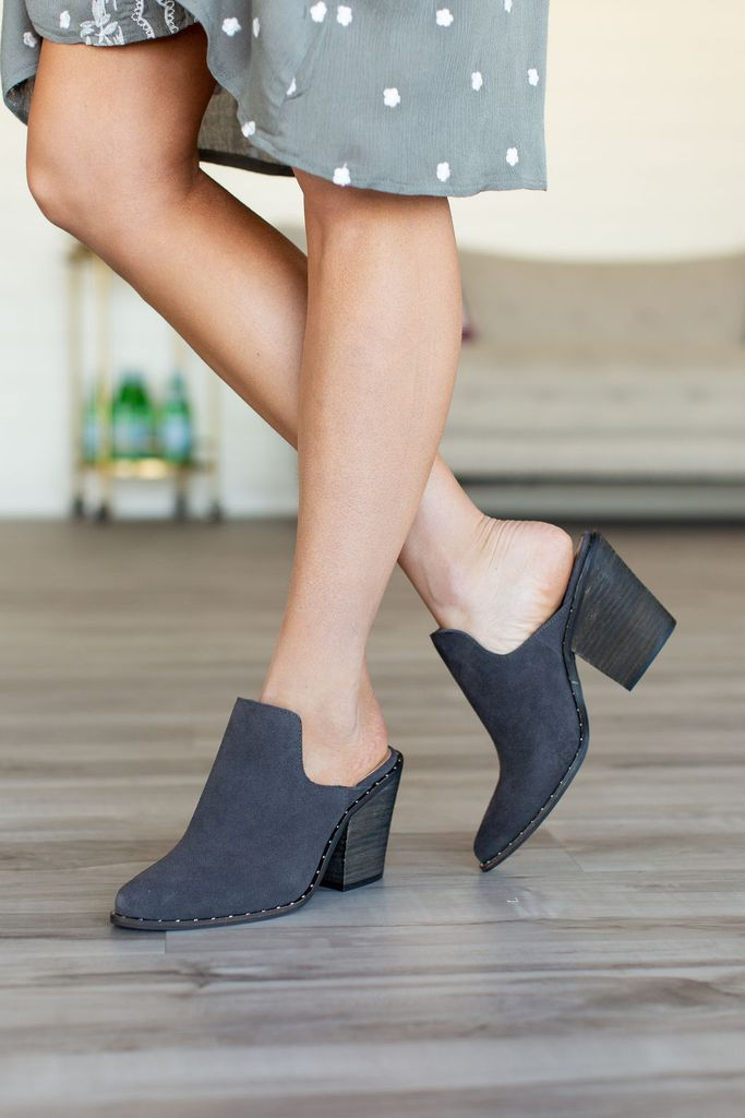 d7ba46ad7 Springfield Mules - Charcoal in 2019 | MINDY MAE'S MARKET - Shoes | Casual  work shoes, Heeled mules, Chinese laundry