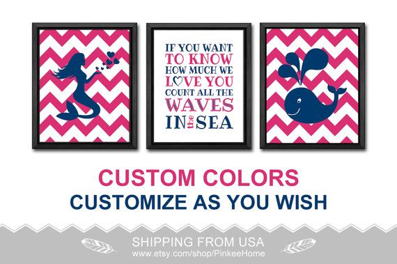 nautical girl wall art mermaid nursery pink and navy if you want to know how much girls room decor baby nursery decor nautical girl decor by PinkeeHome