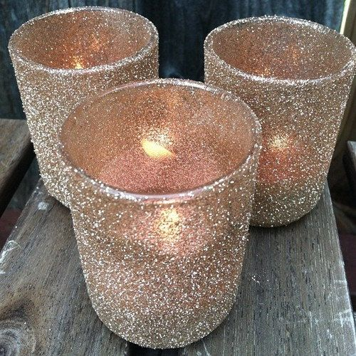 Votive holders in Champagne glitter by SweetHearthsStudio on Etsy