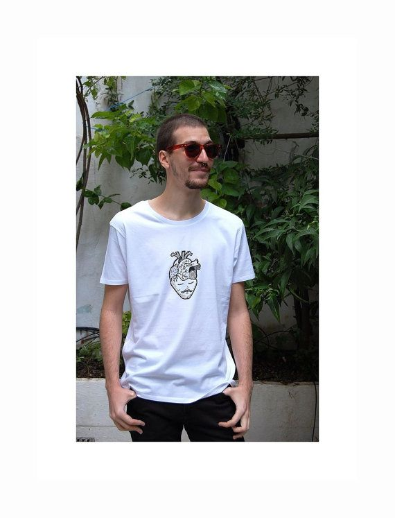 Anatomic Heart And Moustache Man Silkprinted Koumpaki Cotton T-Shirt/Serial Killer Series T-Shirt/ Cotton Silkprinted T-Shirt