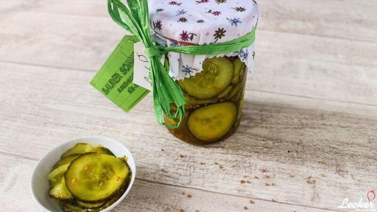 Rezept für selbst eingelegte Sandwich Gurken süß sauer.