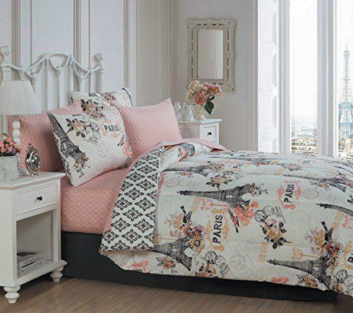Enchanting, Vintage Paris, Eiffel Tower 8-Piece (Queen) Coral Pink Comforter Set