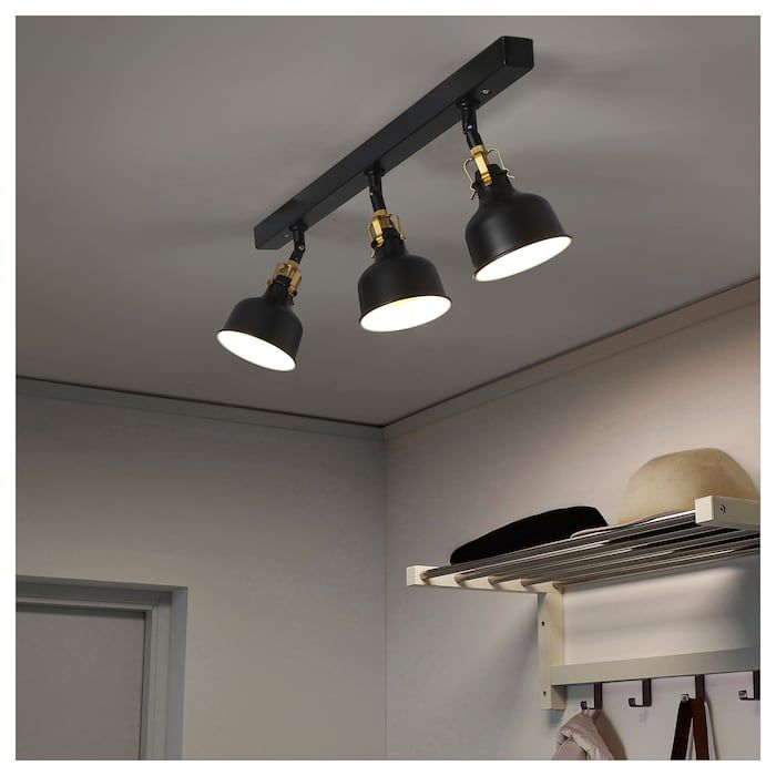 Ranarp Takskena 3 Spots Svart Ikea Black Ceiling Lighting Track Lighting Bedroom Kitchen Ceiling Lights