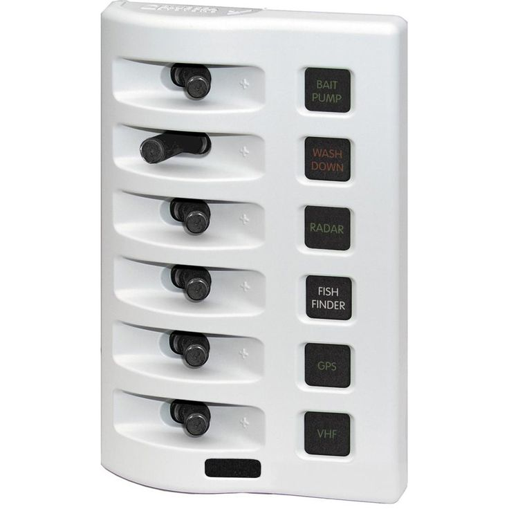 Blue Sea 4316 WeatherDeck Water Resistant Fuse Panel - 6 Position - White - https://www.boatpartsforless.com/shop/blue-sea-4316-weatherdeck-water-resistant-fuse-panel-6-position-white/