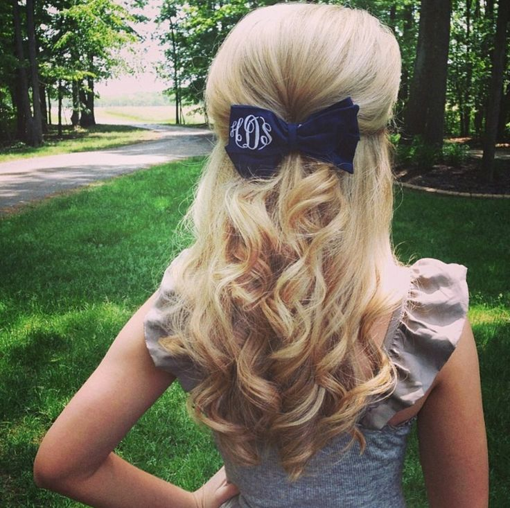 preppy hair style monogrammed hair bow from marleylilly 4 hair 4041