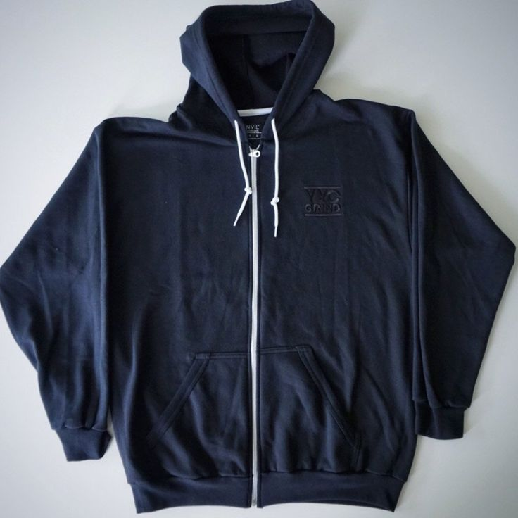 YYC GRIND Black on Black Zip-Up Hoodie