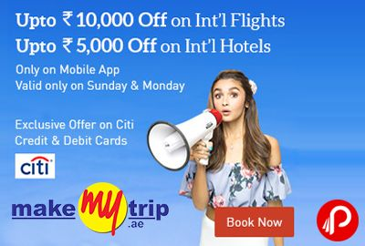 MakeMyTrip is offering Upto 10000 off on international Flights and Up To 5000 on International Hotels. Only on Mobile App, Valid only on Sunday & Monday. Exclusively on Citi Credit Debit Cards. US/AUSTRALIA Cashback 5000/passenger Max.CB 10000, EUROPE Cashback 3000 Max.CB 6000 and for OTHERS countries Cashback 1000 Max.CB 2000. MakeMyTrip Coupon Code – CITISUPER   http://www.paisebachaoindia.com/upto-10000-off-on-international-flights-upto-5000-on-intl-hotels-makemytrip/