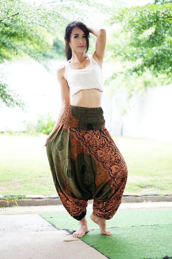 Plus Size Hose grüne Olive Harem Thai Hosen Viskose von MaeYing