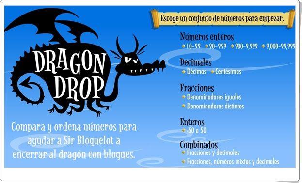 """""""Dragon Drop"""" (Ordenación de fracciones, decimales, enteros y números combinados)"""