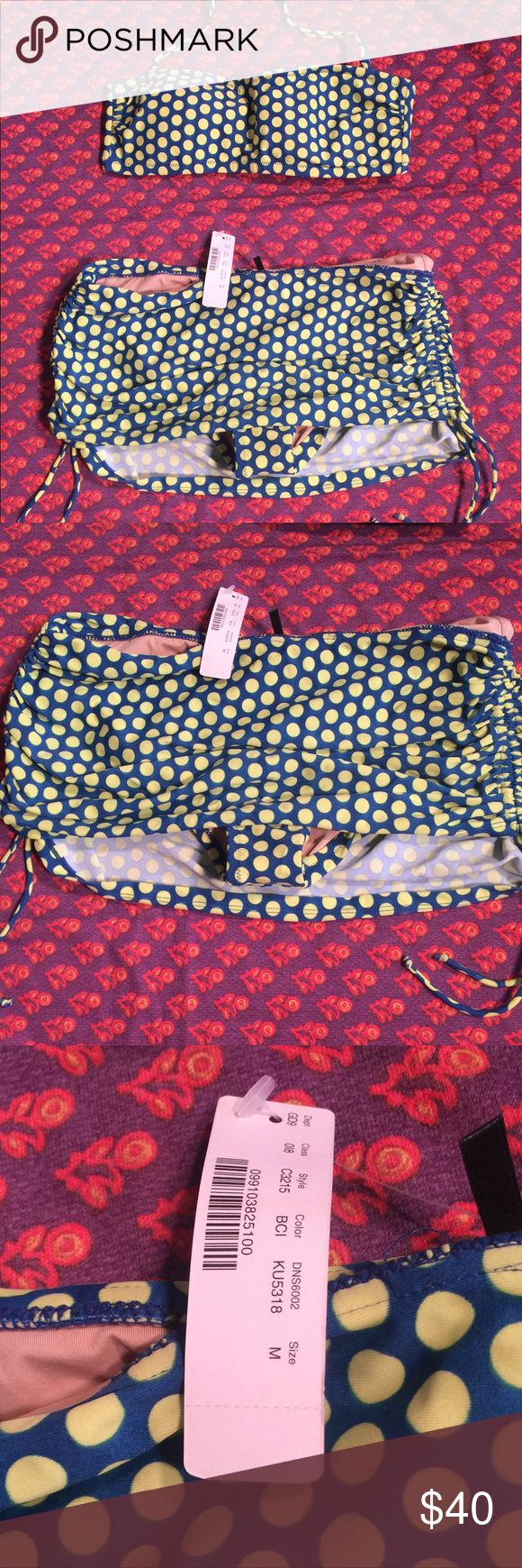 J Crew graphic dot bandeau skirted bottom bikini M Adorable retro style J Crew bikini. Graphic dot with blue background and green dots. Top is bandeau style with removable straps and pads. Bottom is skirted with drawstrings. Stock photo is provided to show fit of bottom. Brand new with tags. Size medium J. Crew Swim Bikinis