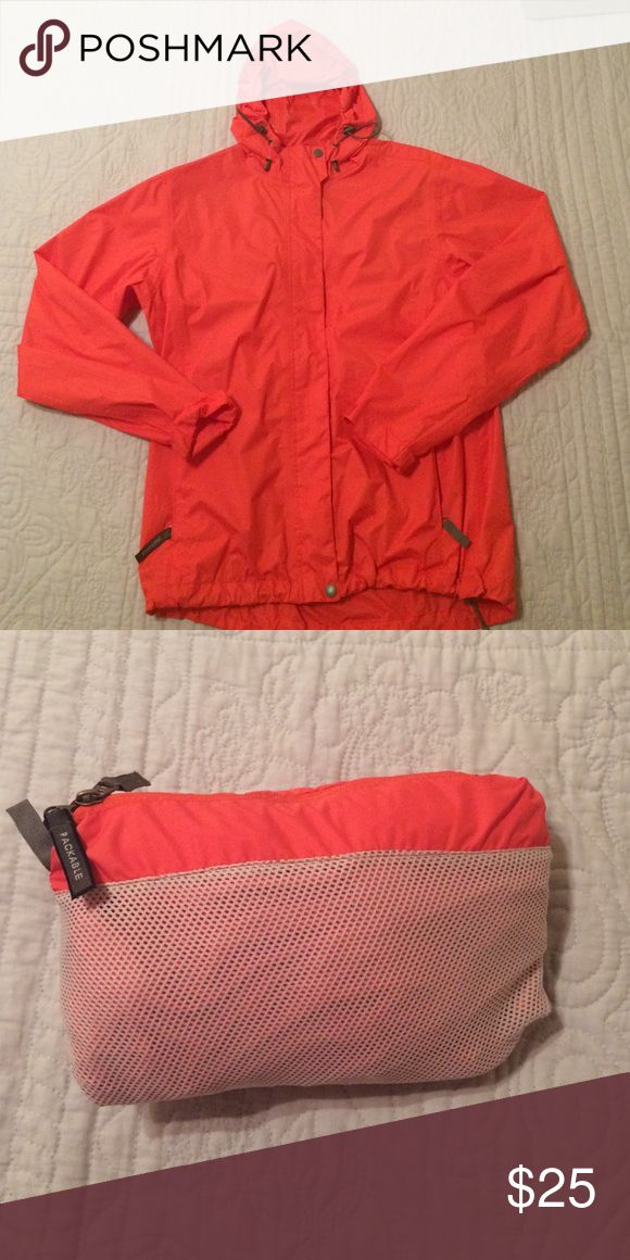 Hooded Packable Rain Jacket So cute and super convenient for packing into luggage! White Sierra Jackets & Coats
