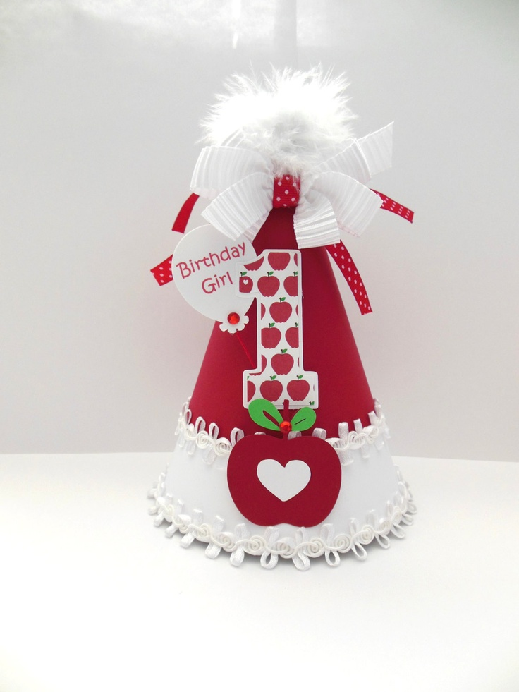 Lil' Apple Birthday Party Hat - Apple of My Eye - Red and White - Personalized. $19.99, via Etsy.