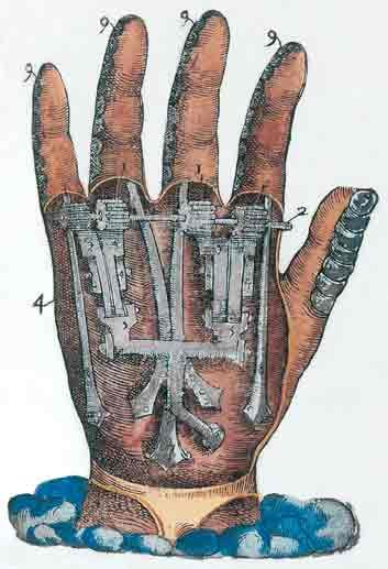 Artificial hand, from Ambroise Paré's Instrumenta chyrurgiae et icones anathomicae (Surgical Instruments and Anatomical Illustrations), Paris, 1564.