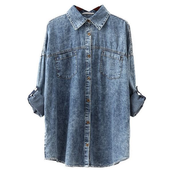 Batwing Sleeves Denim Blouse ($24) ❤ liked on Polyvore featuring tops, blouses, shirts, bat sleeve shirt, denim shirt, blue denim blouse, blue denim shirt and blue shirt