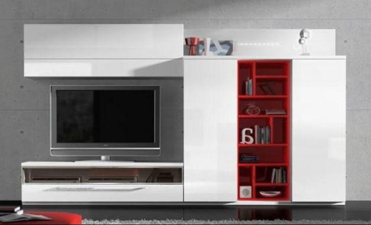 Catálogo Quique Toledano | Composición de comedor lacada en blanco brillo retroiluminada con leds que incorpora librería casillero en lacado rojo ferrari