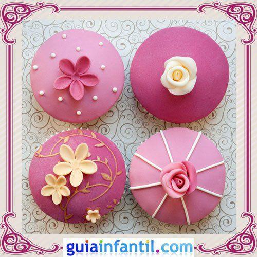 Cupcakes decorados con fondant para el Día de la Madre