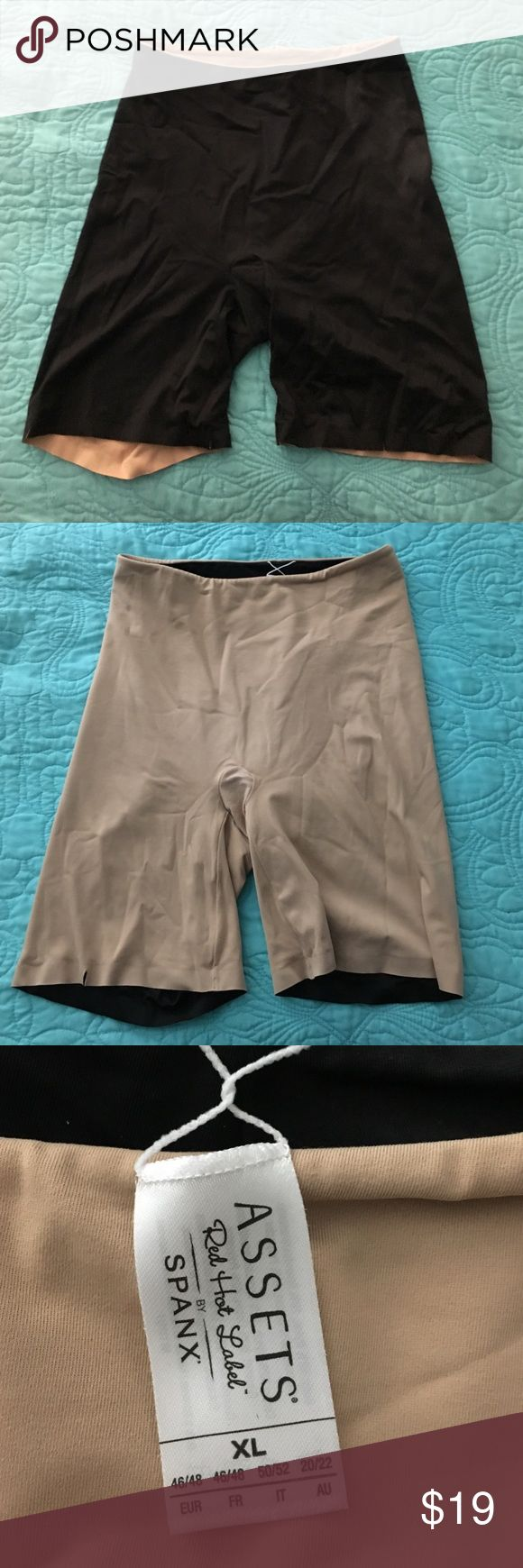 SPANX Assets reversible shapewear XL NEW listing! 💥  SPANX ASSETS Reversible shapewear. Slight cut in bottom of right leg, (pictured) smoothing fabric for sleek silhouette. Lays flat and invisible under clothes. SPANX Intimates & Sleepwear Shapewear